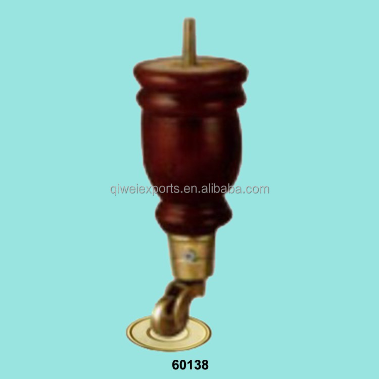 wooden legs with brass caster for furniture
