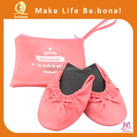 Hot selling comfortable lady roll up ballerina shoes travel slipper