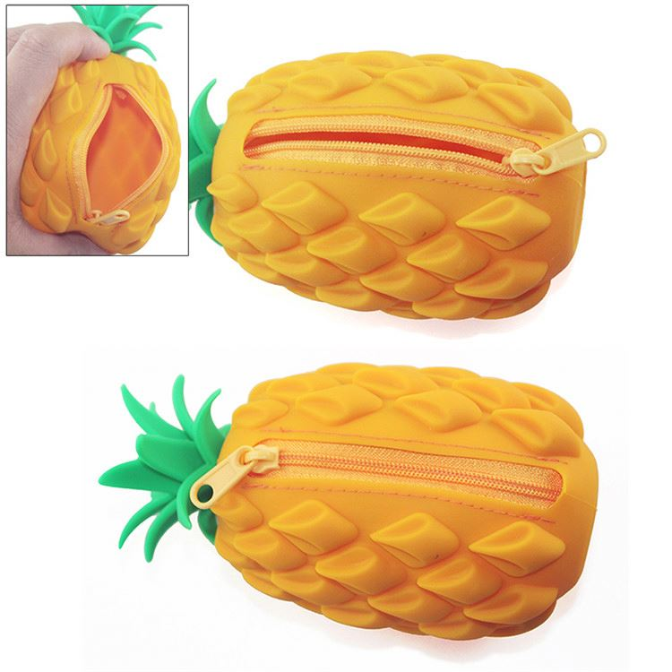 Top selling supple delicate lovely pineapple shape ladies silicone bag