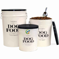 Wholesale Cream Nice Metal Dog Food Containers