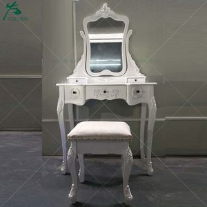 Vanity Classic White French Style Bedroom Dressing Table Set with Stool Mirror