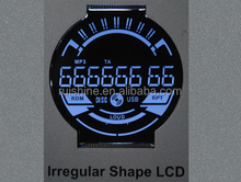 Black background 7 segments circle lcd screen