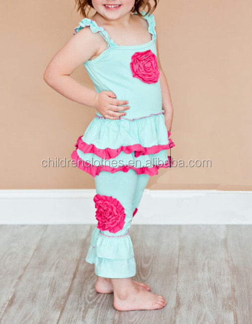 children clothing manufacturers china 2 pieces flower plain outfits suspenders toddler clothes summer outfits
