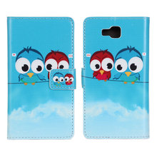 Wholesale Love Owls Pattern Cartoon Printing Leather Protective Case for LG Optimus L9 II with Stand and Card Slot