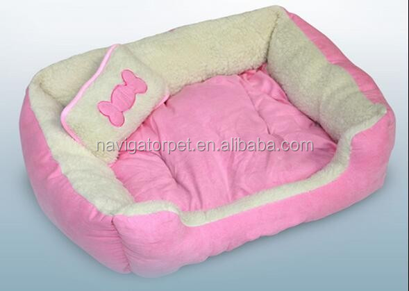 Indoor Pink Luxury Pet Bed With Pillow