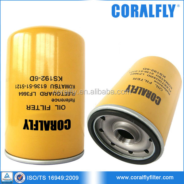 Excavator PC120 PC200 PC150-1 Lube Spin-on Oil Filter 6136-51-5121