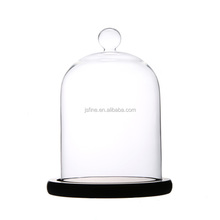 Clear Glass Mini Ball Glass Dome with Black Wooden Base for home decoration