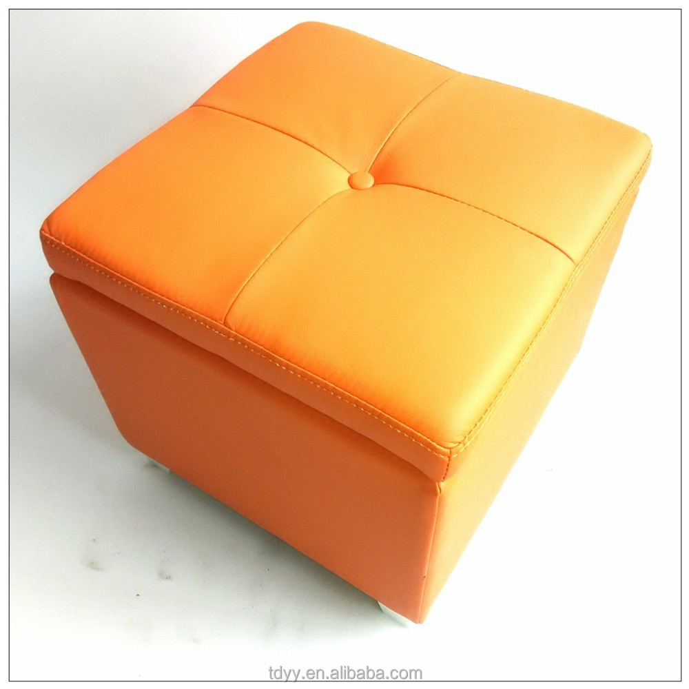 TDST-02 QVB JIANDE TONGDA ORANGE COLOR SQURA WOODEN FOOT WOOD FRAME PU SEAT HOME PU BENCH STORAGE BENCH SOFA