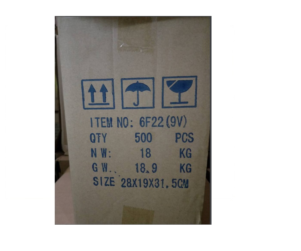 Heavy duty 6F22 9v battery 006P