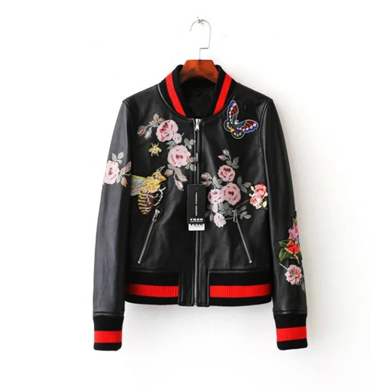 Embroidery jackets women winter flower printing PU faux leather bomber jacket wholesale price