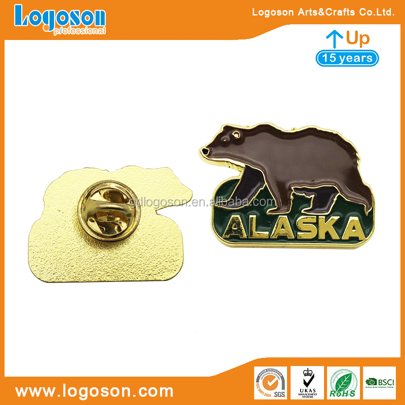 Own Factory U.S.A Tourist Souvenirs Custom Animal Badge Alaska Polar Bear Metal Pin Badge