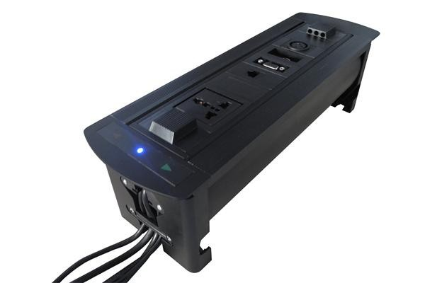 ZeShan ZSP-4 Black Flipping Electric Socket with RJ45 and Canon for High Class Conference Table