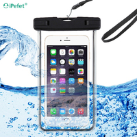 Universal Mobile Phone Luminous Transparent PVC Waterproof Bag Case Cover For iPhone 6
