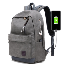 Multi-functional school bag canvas day pack backpack computer backpack with earphone outlet