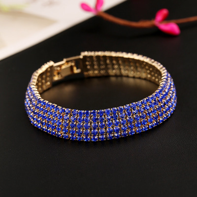 European and American fashion crystal rhinestone bracelet full diamond five line chain shiny jewelry bracelet