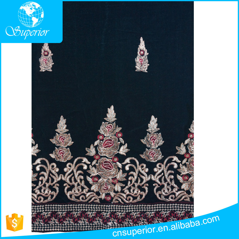 african lace 100% polyester flannelette customized high quality embroidery and sequin george velour fabric