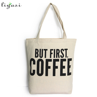 Customized logo printed cotton canvas women shoulder bag
