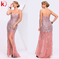 2014 Latest design off-shoulder sexy high slit pink evening dress celebrity evening dress