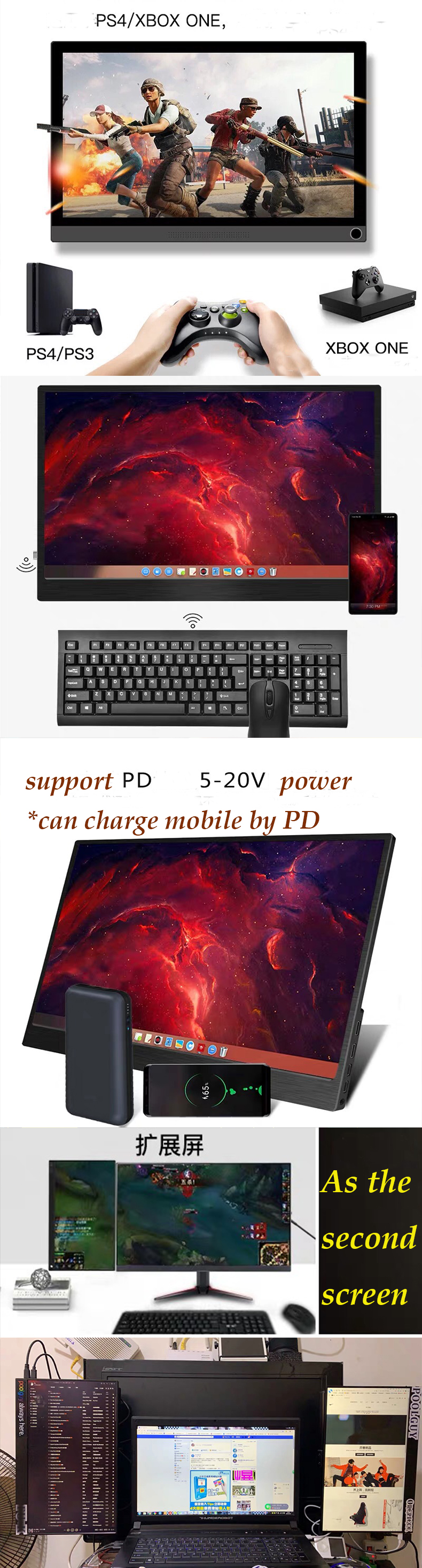 Red new color ! Type-c IPS 4K Portable small touch screen game monitor 15.6 inch with battery