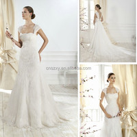 2014 New Arrival A-Line Cap Sleeve Wedding Dress Remove Train --- YY014