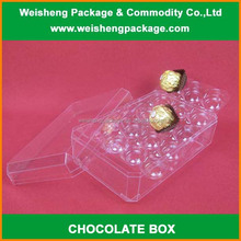 Elegant luxury clear plastic chocolate packaging box/praline packing box with lid
