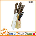 Wholesale 8pcs stainless steel kitchen knife set with wooden block