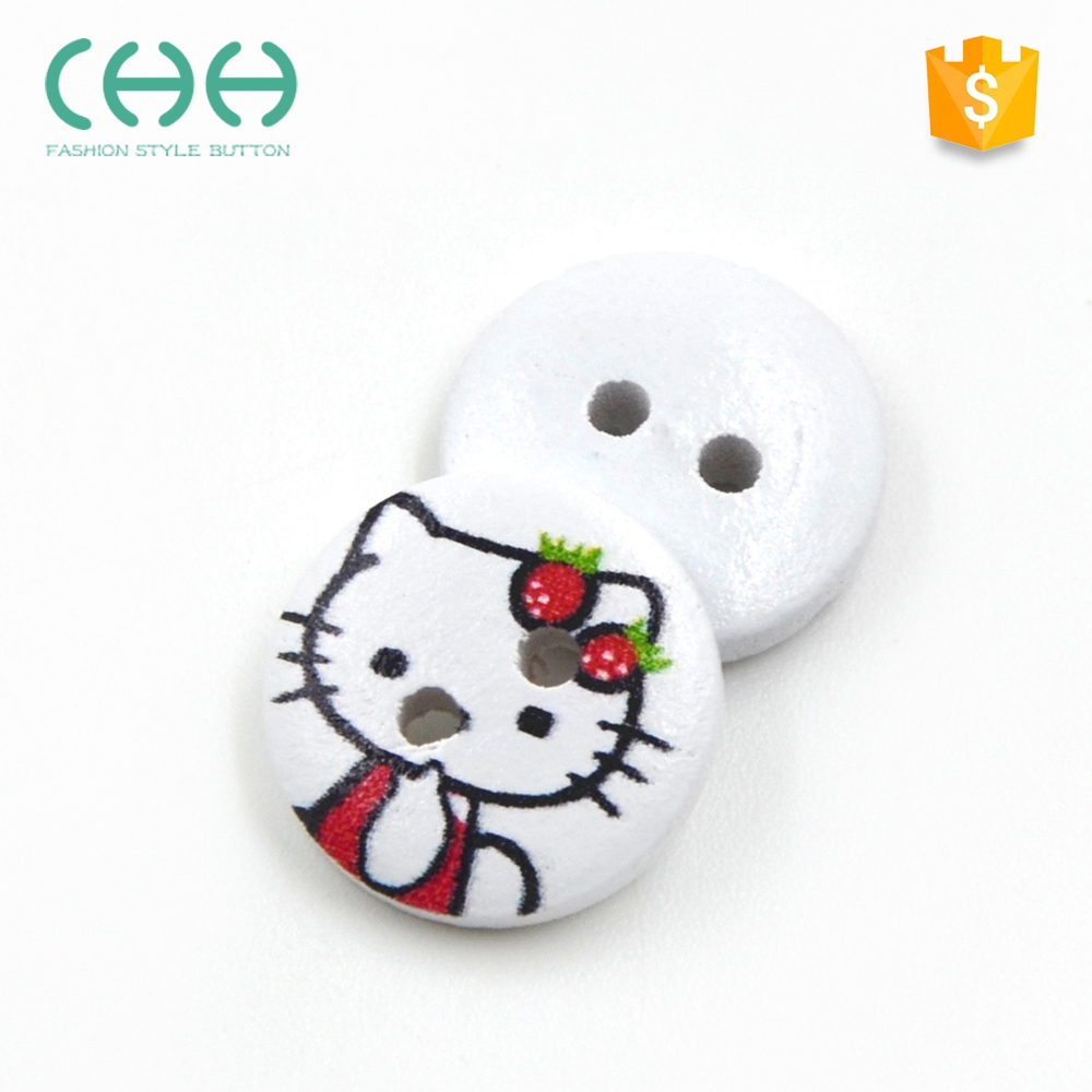 Supplier direct decorative DIY cat pattern round shirt wooden buttons