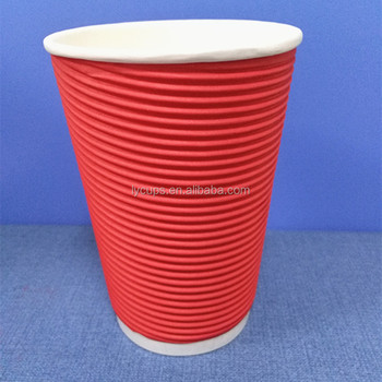 12oz waxed ripple double striped disposable paper cup for coffee tea