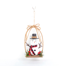 Christmas hanging decoration snowman seat on swing with Brown Loop Bow and scarf Christmas tree ornament