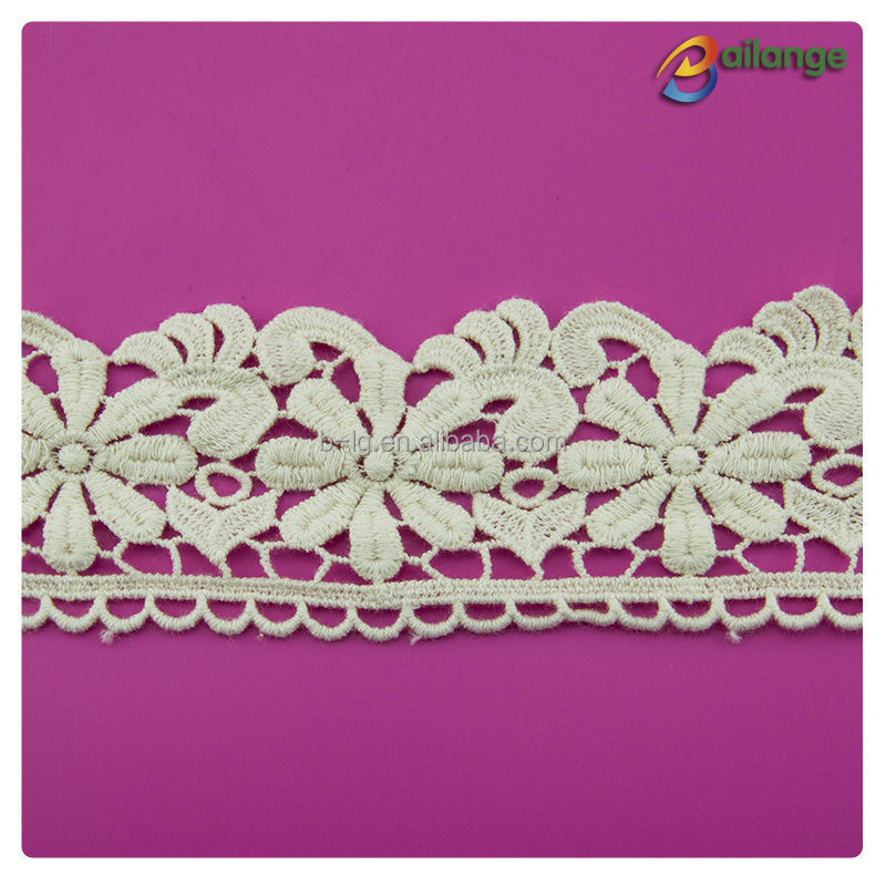 Bailange flower pattern off white cotton lace trim