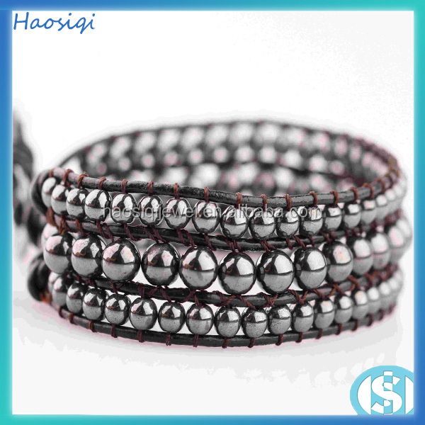 Hot Sale Charm alloy beads Fashion Jewelry Magnetic Hematite Bead Bracelet