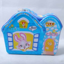 Cartoon rabbit metal money box with key