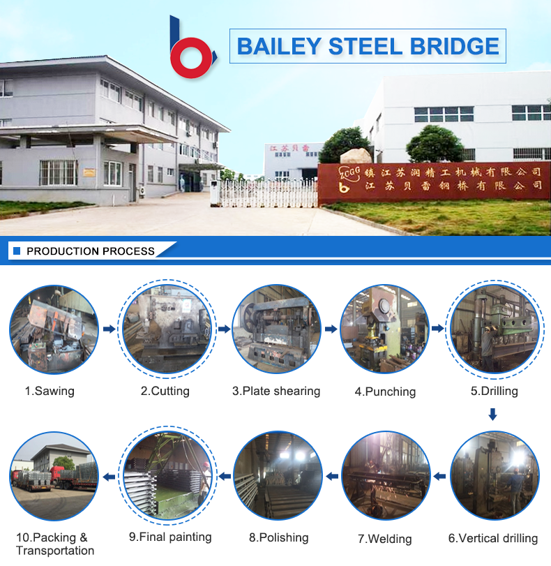 Factory manufacturer in china simple portable steel truss bridge