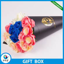 Elegant Decorative Handmade Flower Box Paper Cone Packaging With Ribbon Handle