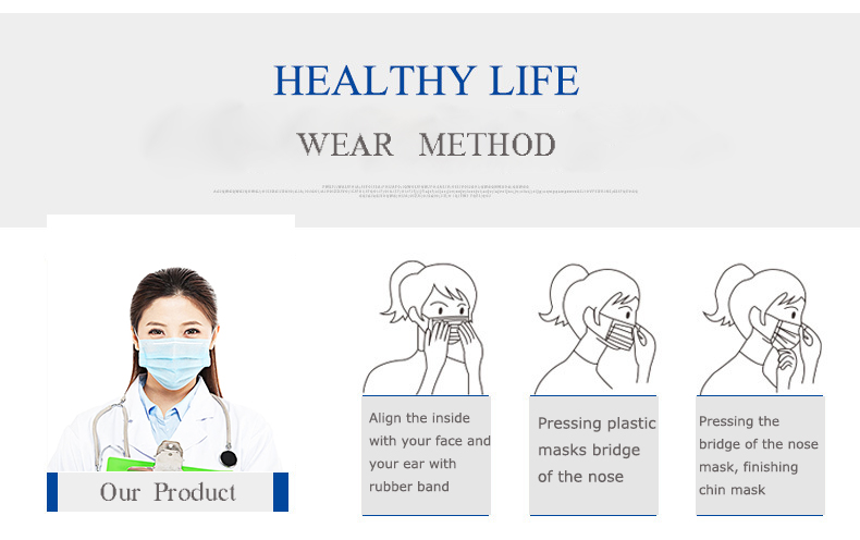 Medical grade protect dust face mask disposable 3 ply non woven filter paper mask