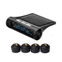 Universal Tire Pressure Monitoring System 4 External Sensor TPMS Real-time Detection Alarm with Solar Power