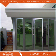 YY Home aluminium soundproof indoor glass vinyl folding door