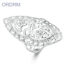 Beautiful women cute-noble pretty fashion rare silver plated flower style ring
