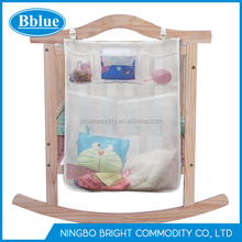 Baby Crib Hanging Net Bag Nursery Diaper Organizer Storage Bag Bedside Caddy for Baby Crib Crib Toy Organizer