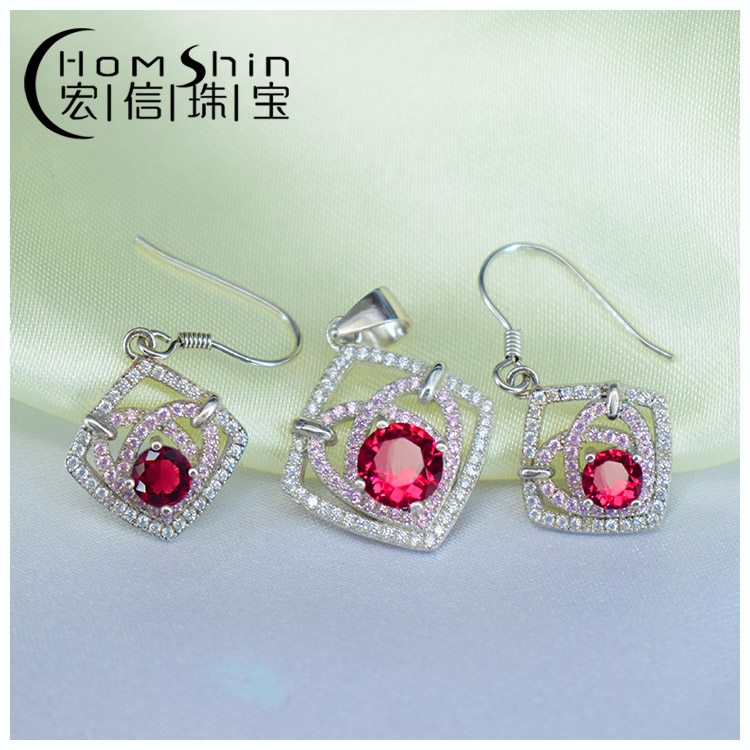 Ruby stone earring and pendant silver jewelry set
