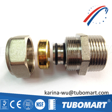 NPT screw thread brass pipe fittings for pex al pex pipe plastic pipe