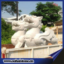 Chinese dragon sculpture carvings white granite raw material animal stone statue