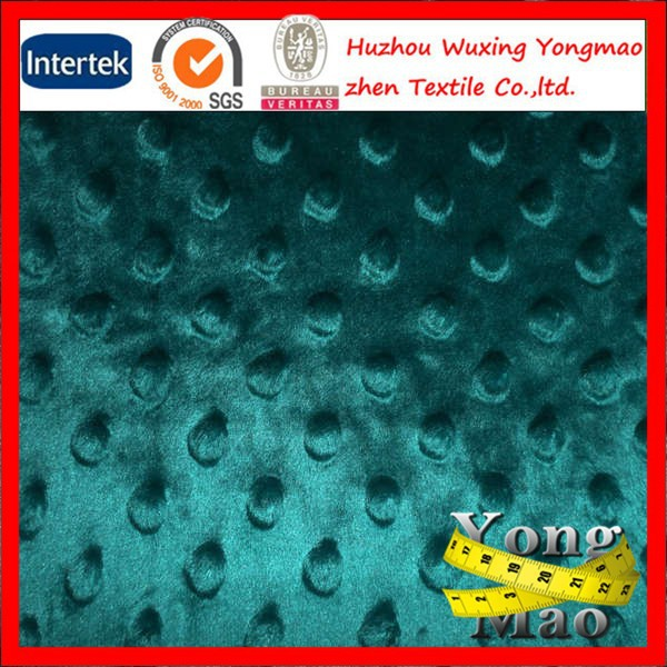2015 Huzhou manufacturer cuddle dimple fabric /minky fabric for blankets