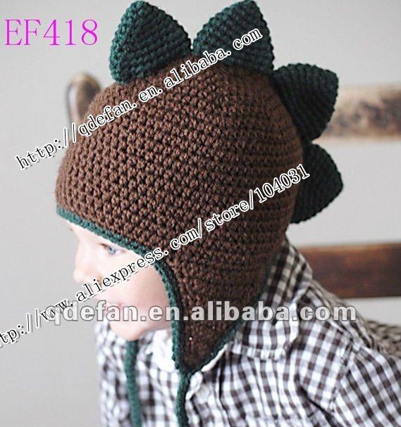 wholesale knitting animal beanie/hat attractive headwear dinosaur hats crochet cotton kids caps