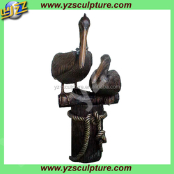 garden decoration life size copper mother and baby pelican sculptures
