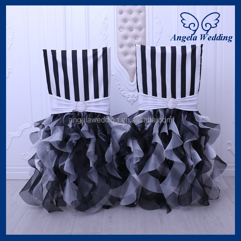 CH009A New arrival 2017 black and white stripe curly willow wedding chair covers with band