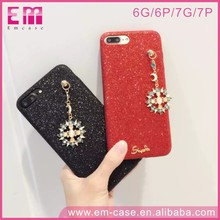 Bling Sun And Star Keychain Glitter Scrub Powder Cover Hard PC Phone Case For iPhone6 6plus 7 7plus