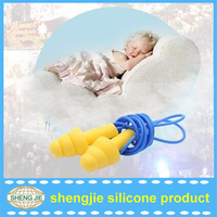 Soft Silicone Corded Ear Plugs Reusable Hearing Protection Noise Reduction Earplugs Protective earmuffs