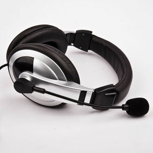 good quality leather headband headphones flexible microphone retractable headphones computer headset