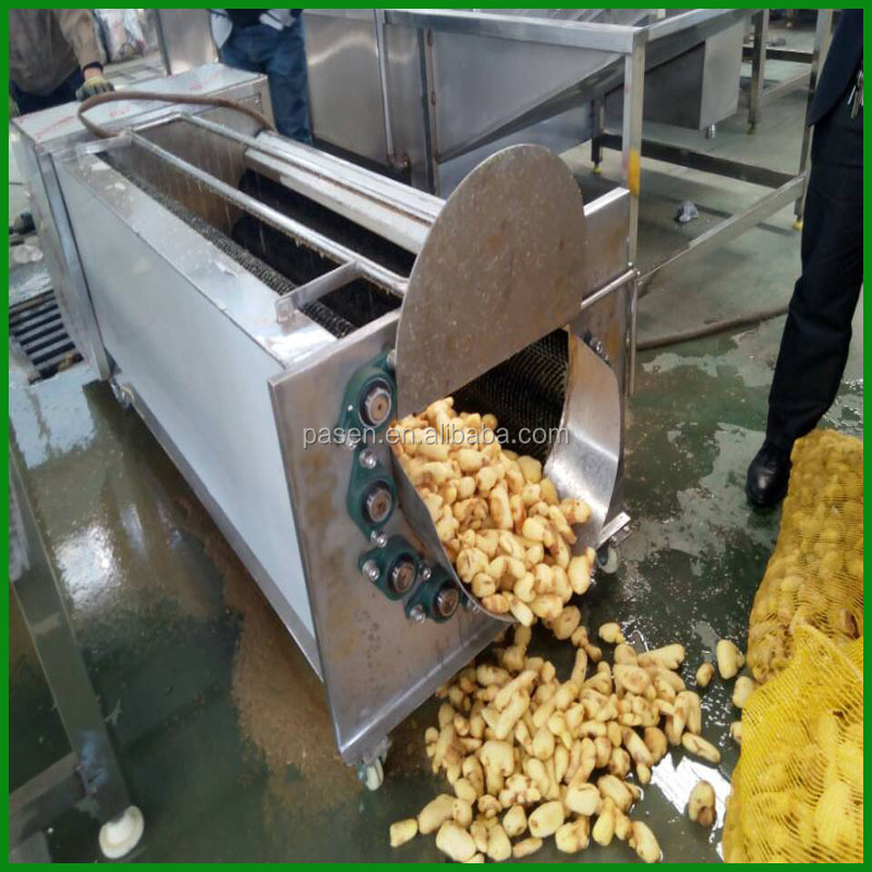 carrots brushing washer / brush potatoes cleaning machine / brush washing and peeling machine for food processing